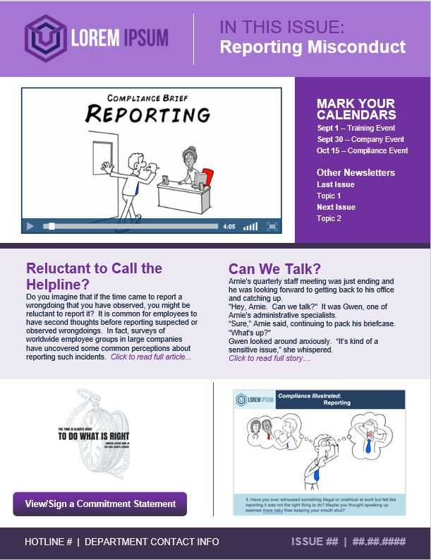 Reporting Misconduct Newsletter